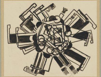 Exposición Dada Ruso, en Museo Reina Sofía Obra Charles Chaplin haciendo la voltereta