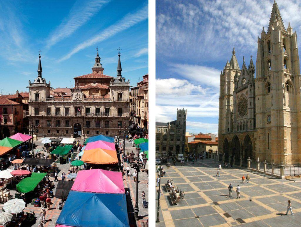 mercado, catedral, viaje a leon