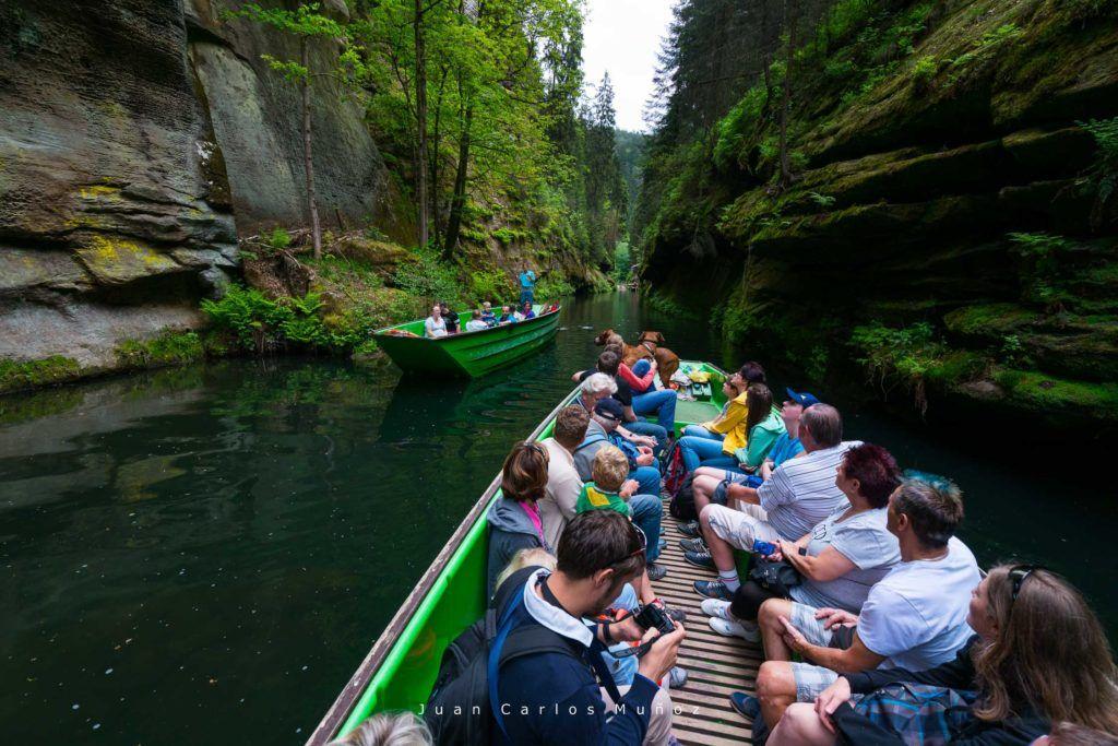 Boat Cruise, Gorges of Kamenice River, Bohemian Switzerland National Park, Czech Republic, Europe