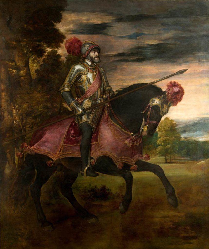 carlos v en la batalla de muhlber, museo del prado, obras de tiziano