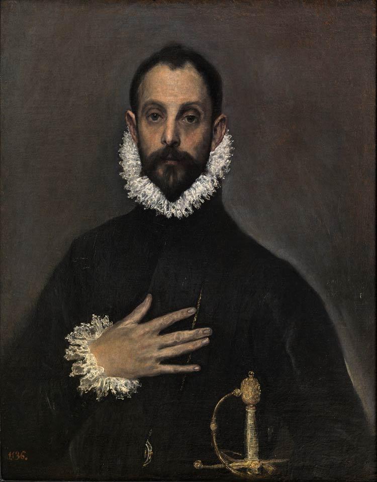 El caballero de la mano en el pecho, El Bosco, Museo del Prado