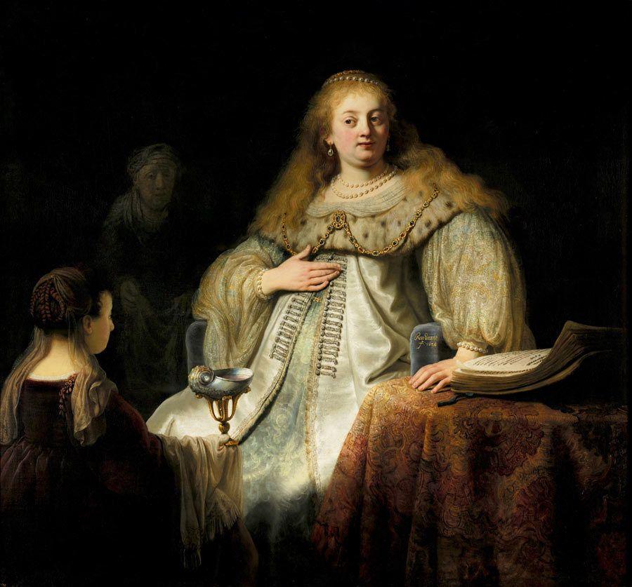 Judit en el banquete de Holofernes, obras de Rembrandt, museo del prado