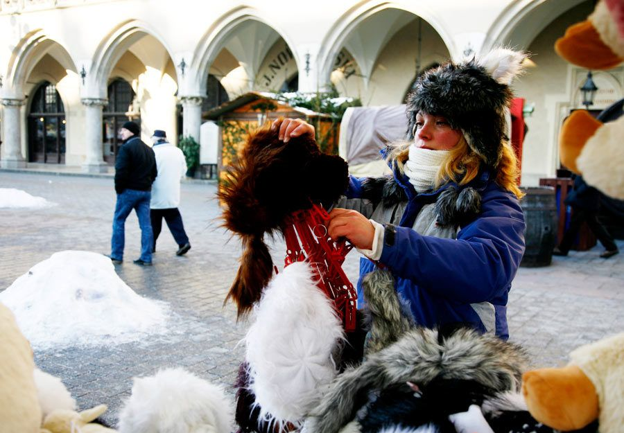 Mercado navideño de Cracovia.