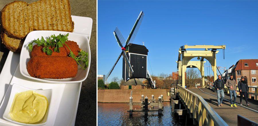 croquetas holandesas, puente sobre rin leiden