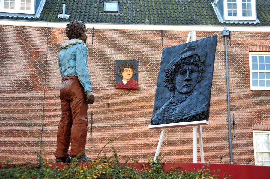 escultura rembrandt, casa leiden rembrandt