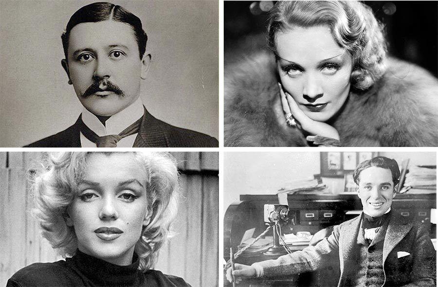 Charles Henry Hawtrey, Marlene Dietrich, Marilyn Monroe y Charles Chaplin