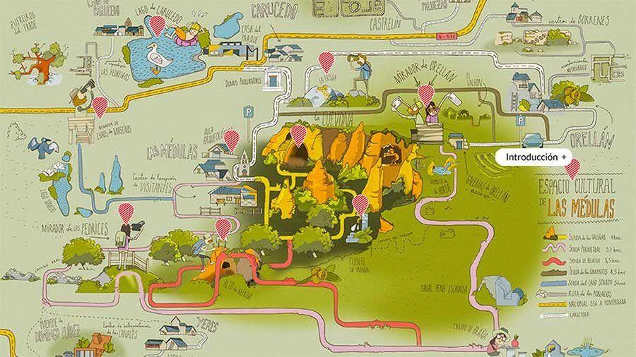 mapa las medulas, viaje leon