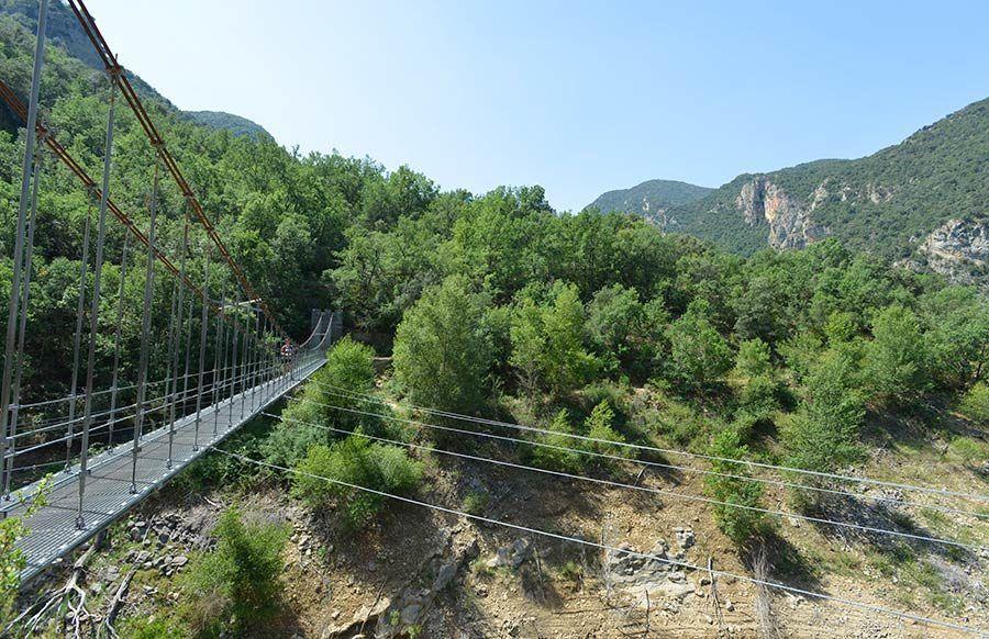 puente colgante, congost mont rebei, desfiladero mont rebei