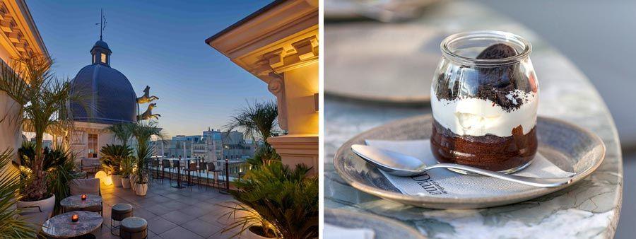 vasito de chocolate con crema de oreos y galletas en el hotel hyatt