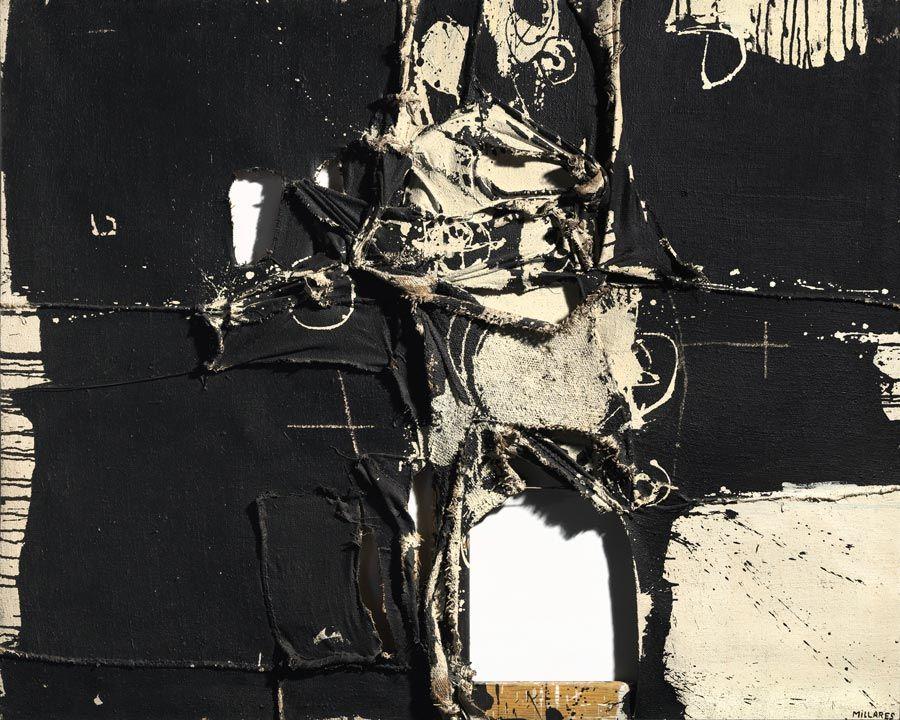 cuadro 64 de manolo millares en feria de arte tefaf