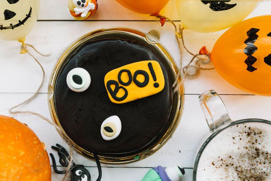 tartas de chocolate para Halloween.