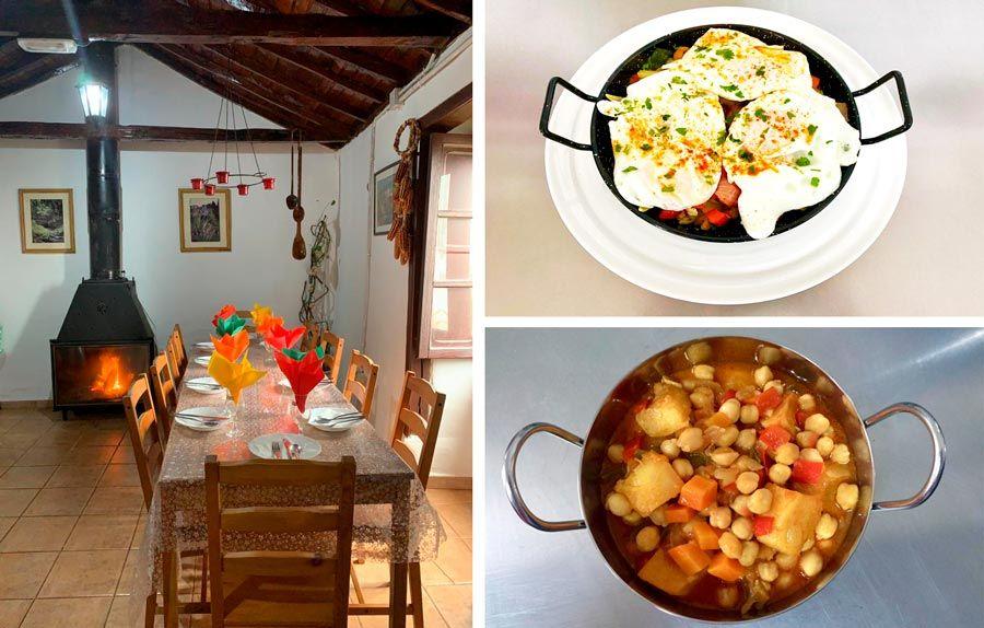 interior y platos restaurante Casa Efigenia