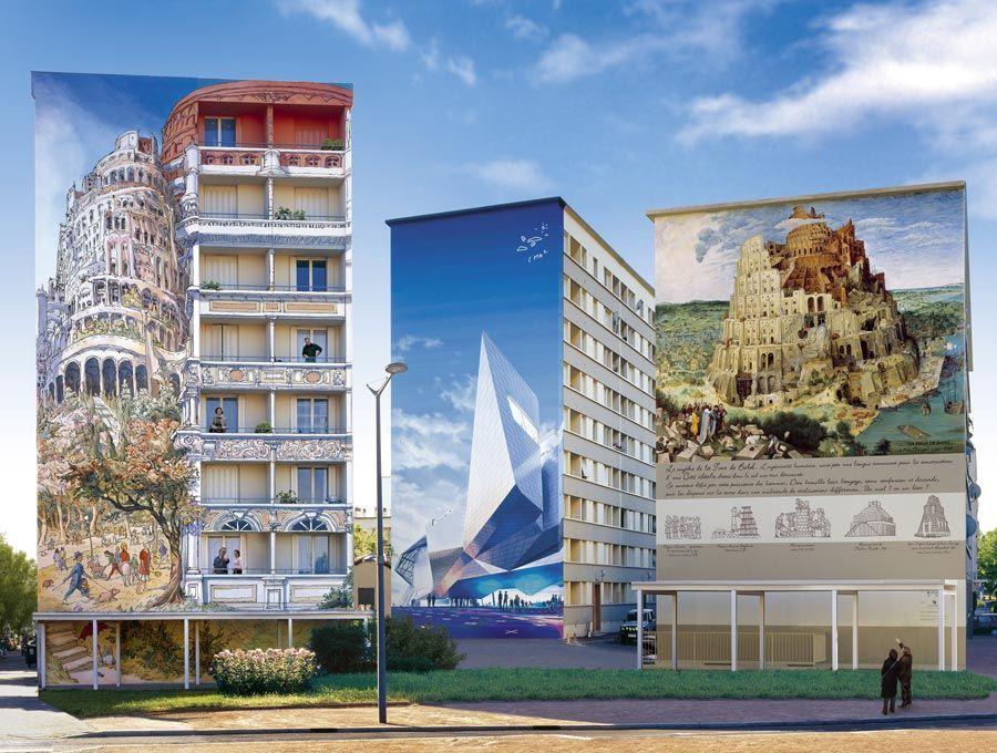 mural tres torres de babel en lyon