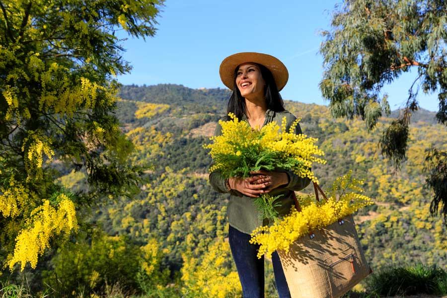 Mujer con mimosas.