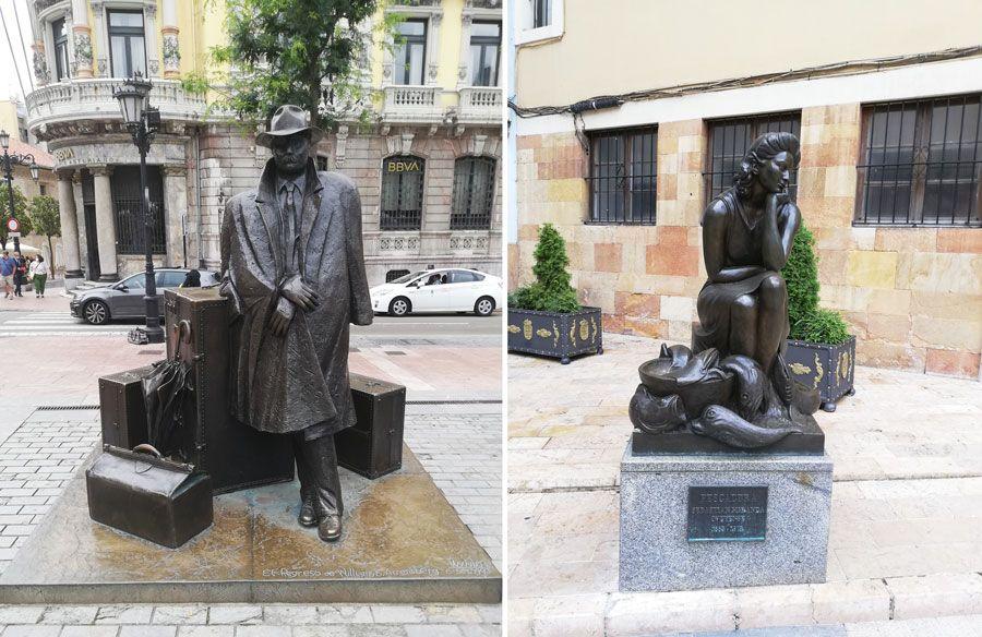 Estatuas de 'El Viajero' y 'La Pescadera'.
